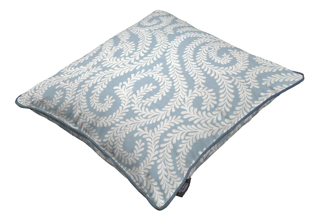 McAlister Textiles Little Leaf Wedgewood Blue Cushion Cushions and Covers