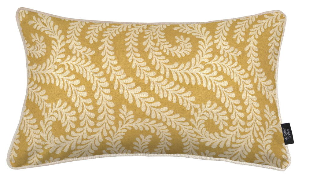 McAlister Textiles Little Leaf Ochre Yellow Cushion Cushions and Covers Cover Only 50cm x 30cm