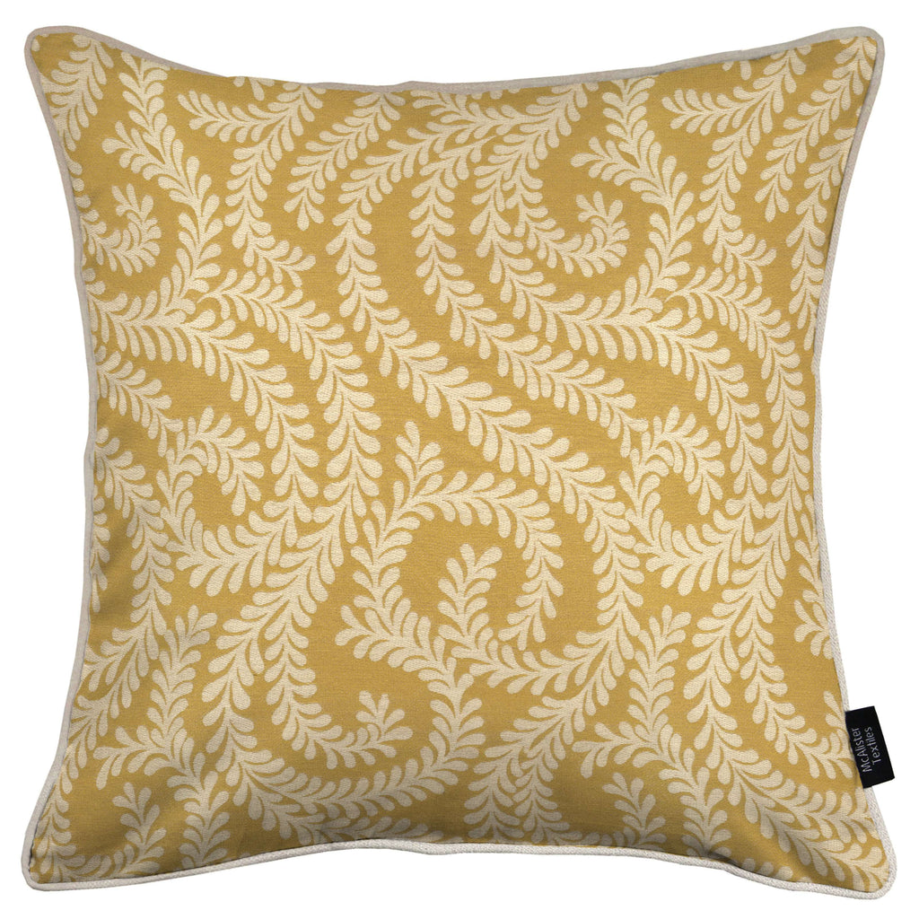 McAlister Textiles Little Leaf Ochre Yellow Cushion Cushions and Covers Cover Only 43cm x 43cm
