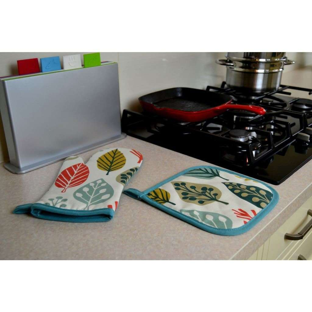 McAlister Textiles Magda Burnt Orange Cotton Print Oven Mitt Kitchen Accessories