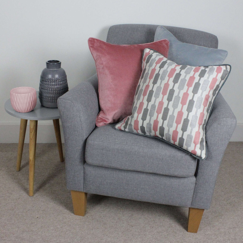 McAlister Textiles Lotta Blush Pink + Grey Cushion Cushions and Covers