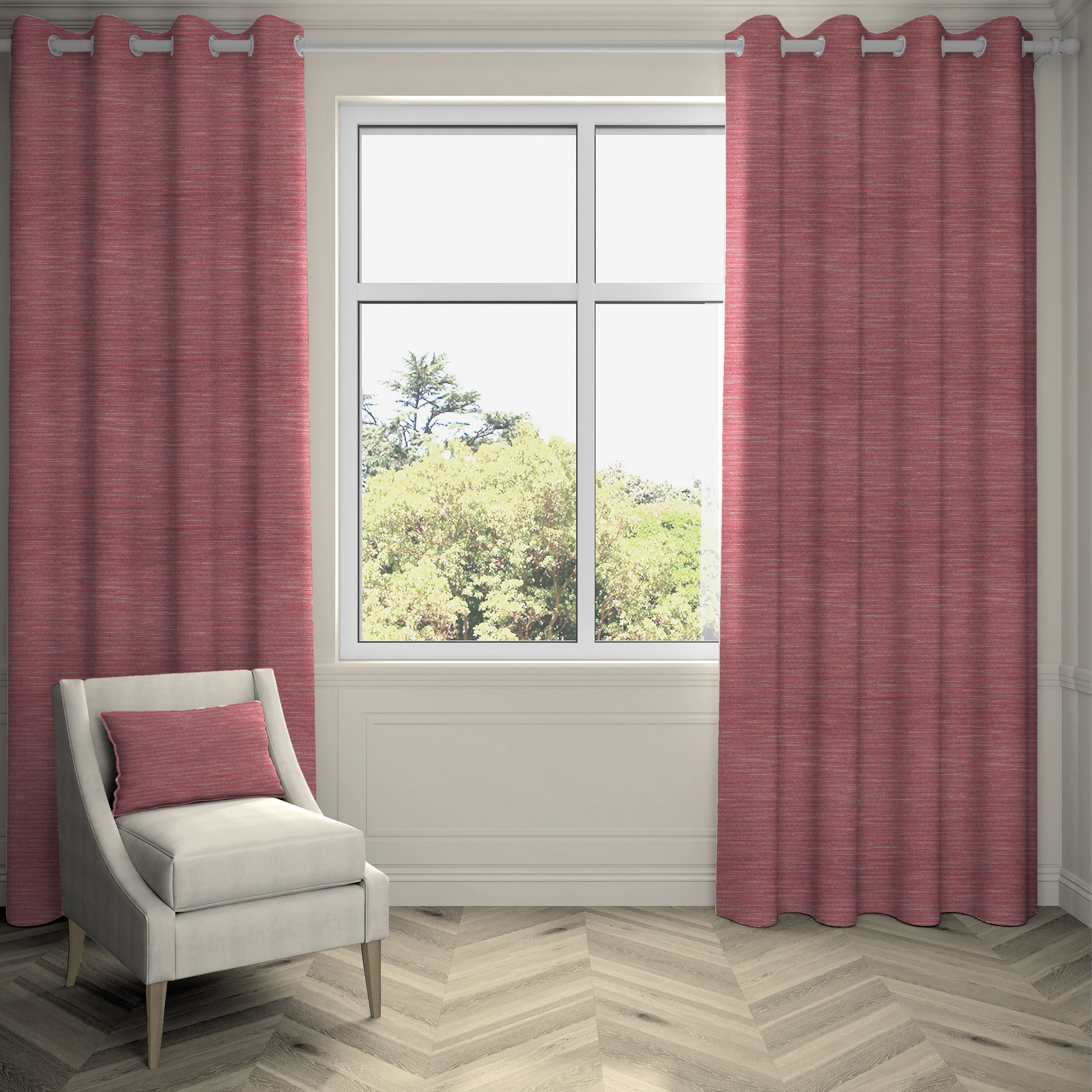 "McAlister Textiles Hamleton Red Textured Plain Curtains Tailored Curtains 116cm(w) x 137cm(d) (46"" x 54"")"