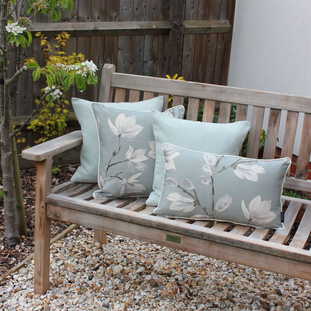 McAlister Textiles Magnolia Duck Egg Floral Cotton Print Cushions Cushions and Covers
