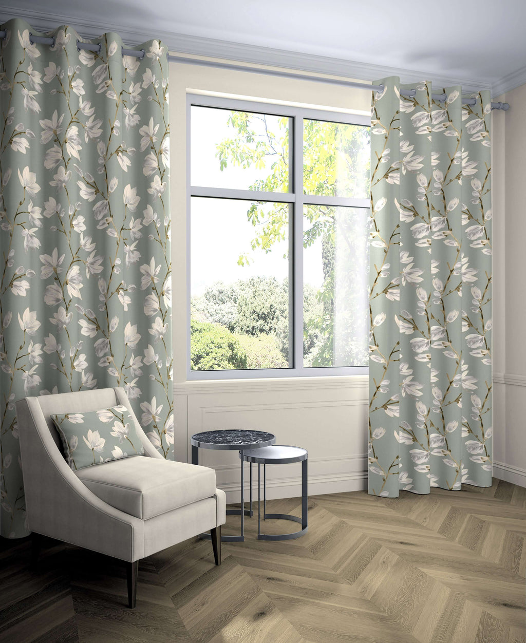 "McAlister Textiles Magnolia Duck Egg Floral Cotton Print Curtains Tailored Curtains 116cm(w) x 137cm(d) (46"" x 54"")"