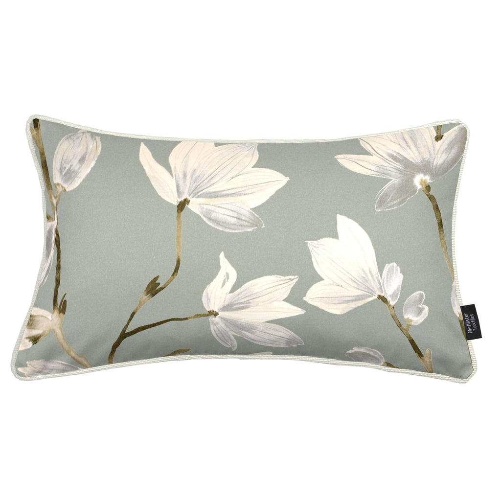 McAlister Textiles Magnolia Duck Egg Floral Cotton Print Cushions Cushions and Covers Cover Only 50cm x 30cm