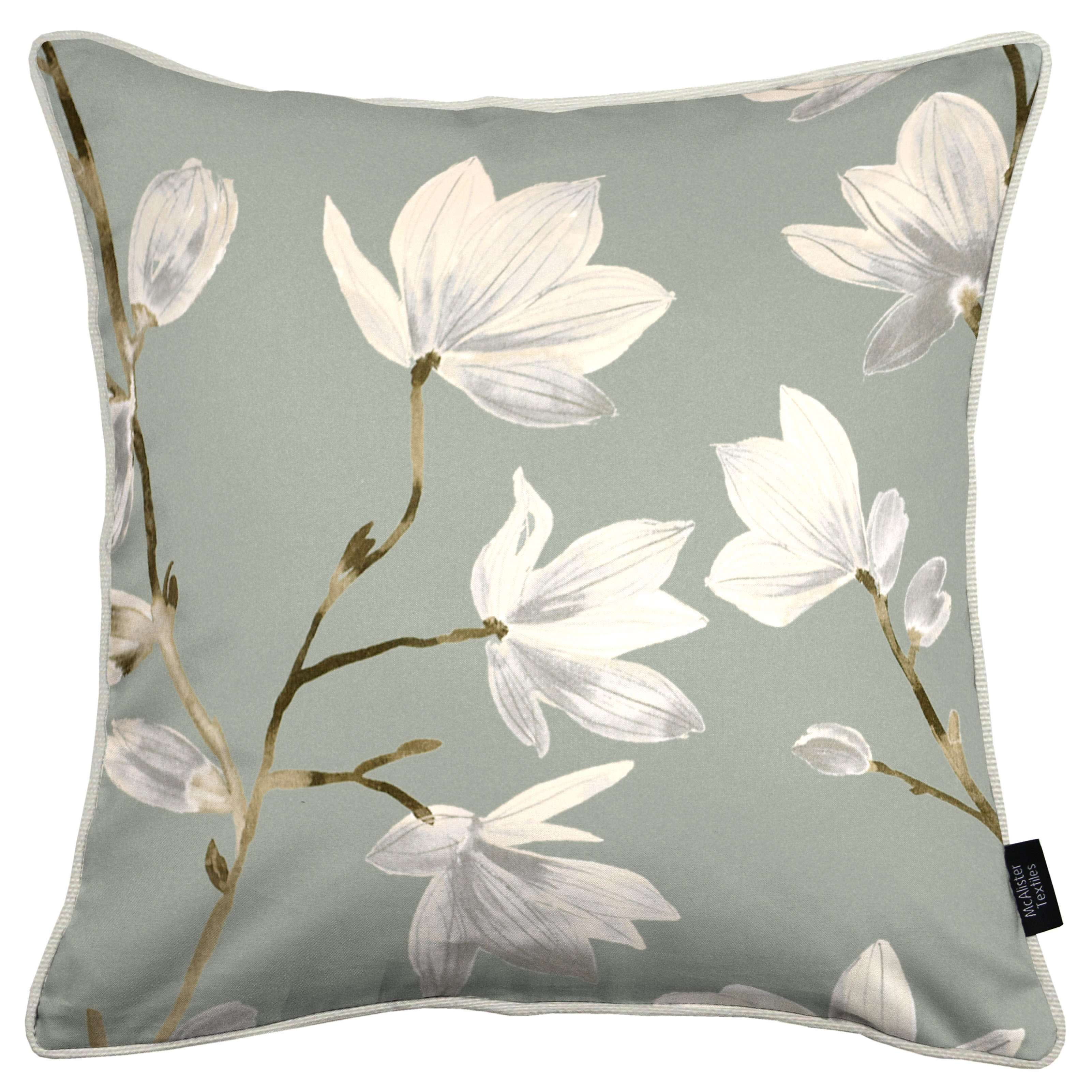 McAlister Textiles Magnolia Duck Egg Floral Cotton Print Cushions Cushions and Covers Cover Only 43cm x 43cm