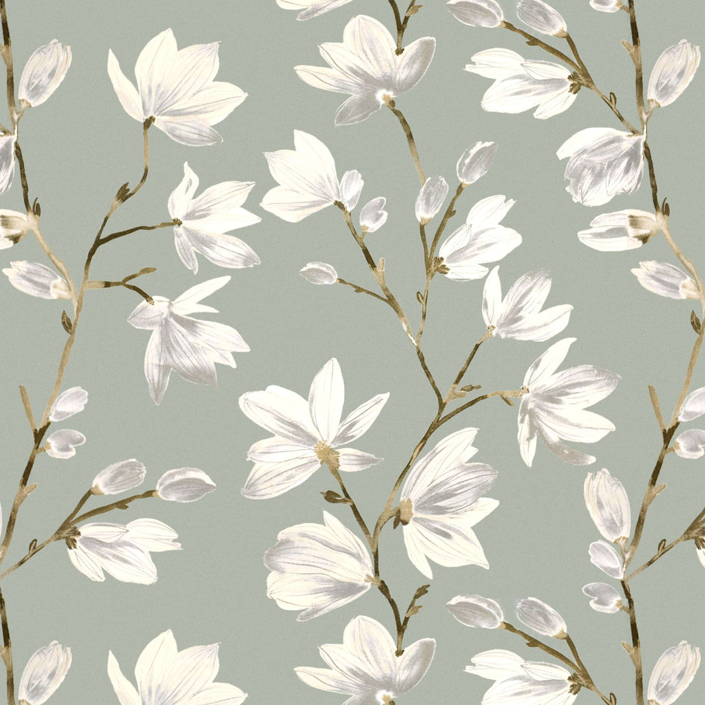 McAlister Textiles Magnolia Duck Egg Floral Cotton Print Fabric Fabrics