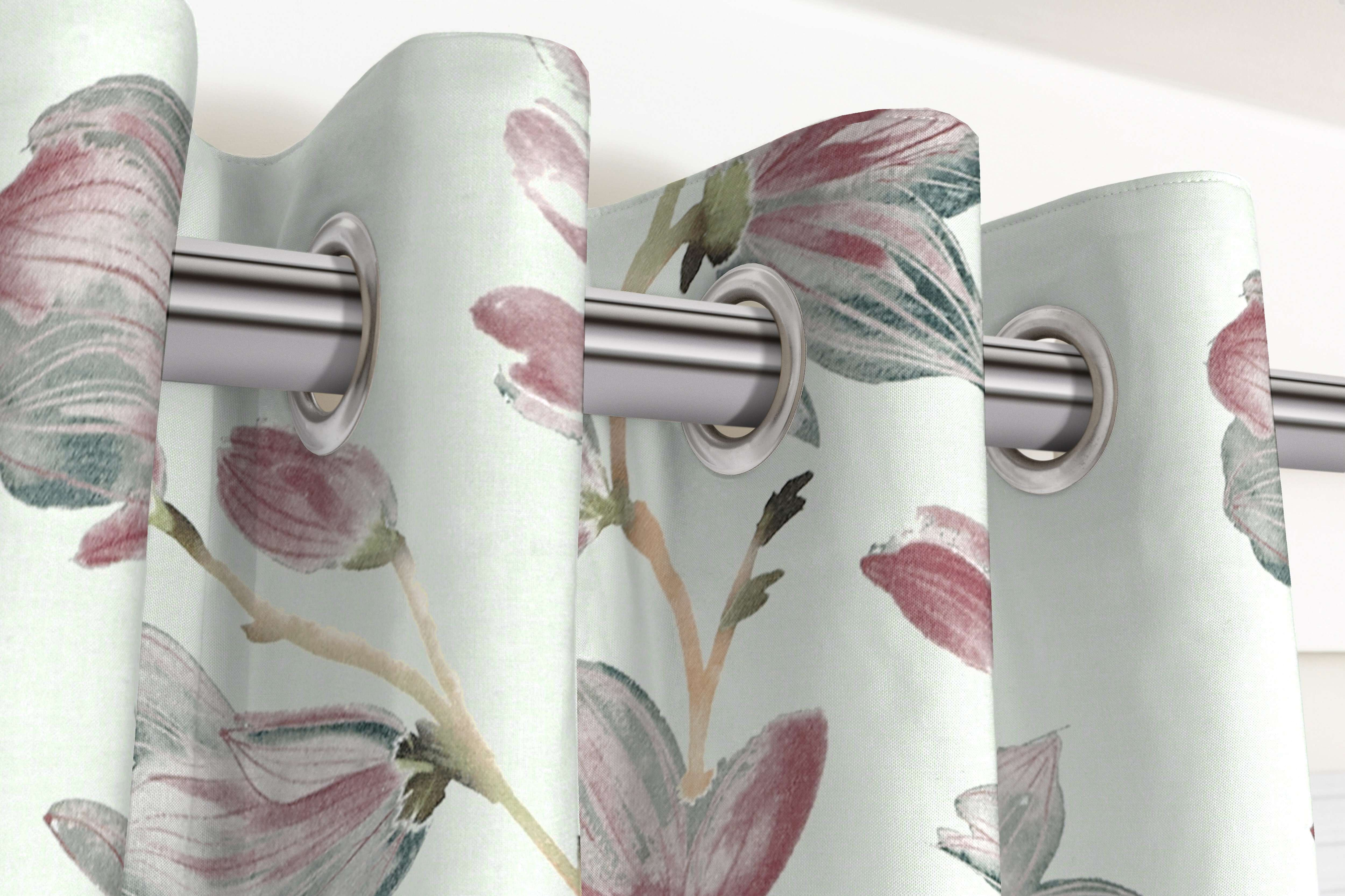 McAlister Textiles Magnolia Rose Floral Cotton Print Curtains Tailored Curtains