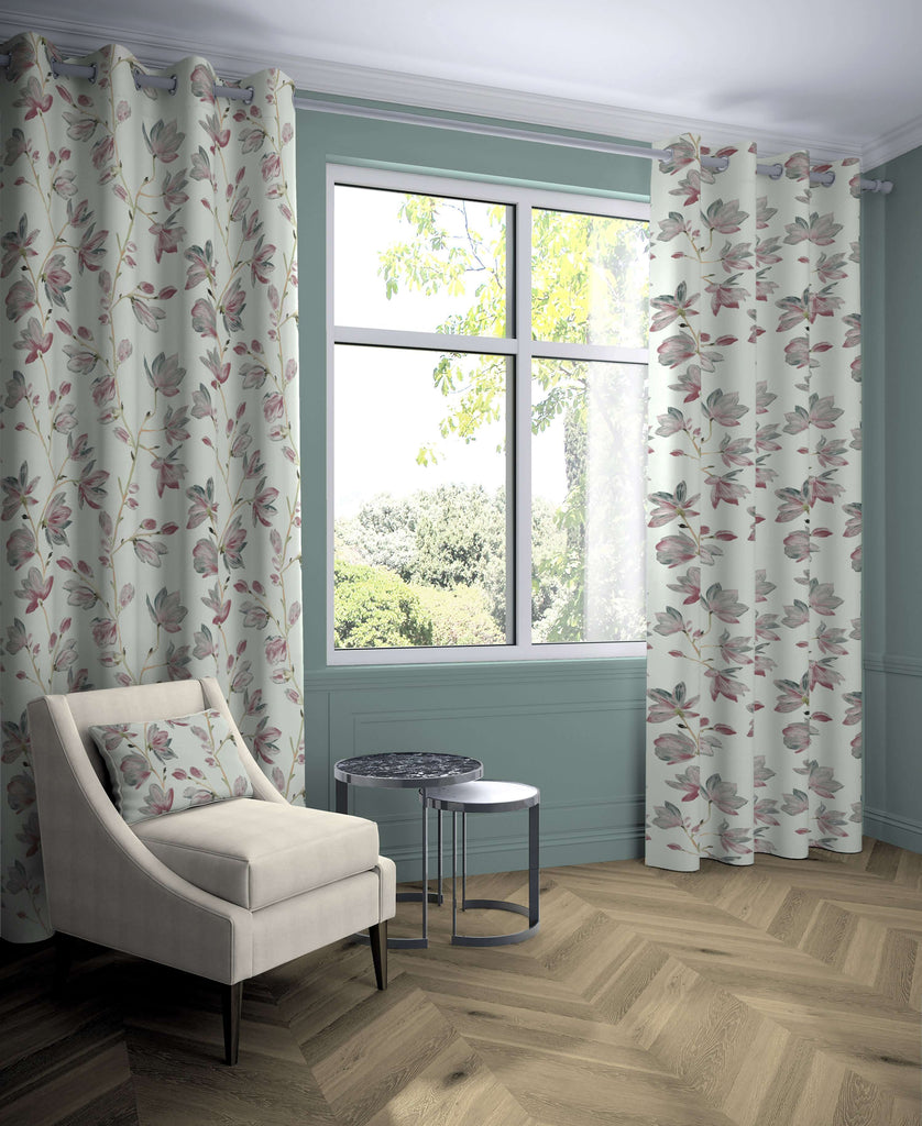 "McAlister Textiles Magnolia Rose Floral Cotton Print Curtains Tailored Curtains 116cm(w) x 137cm(d) (46"" x 54"")"