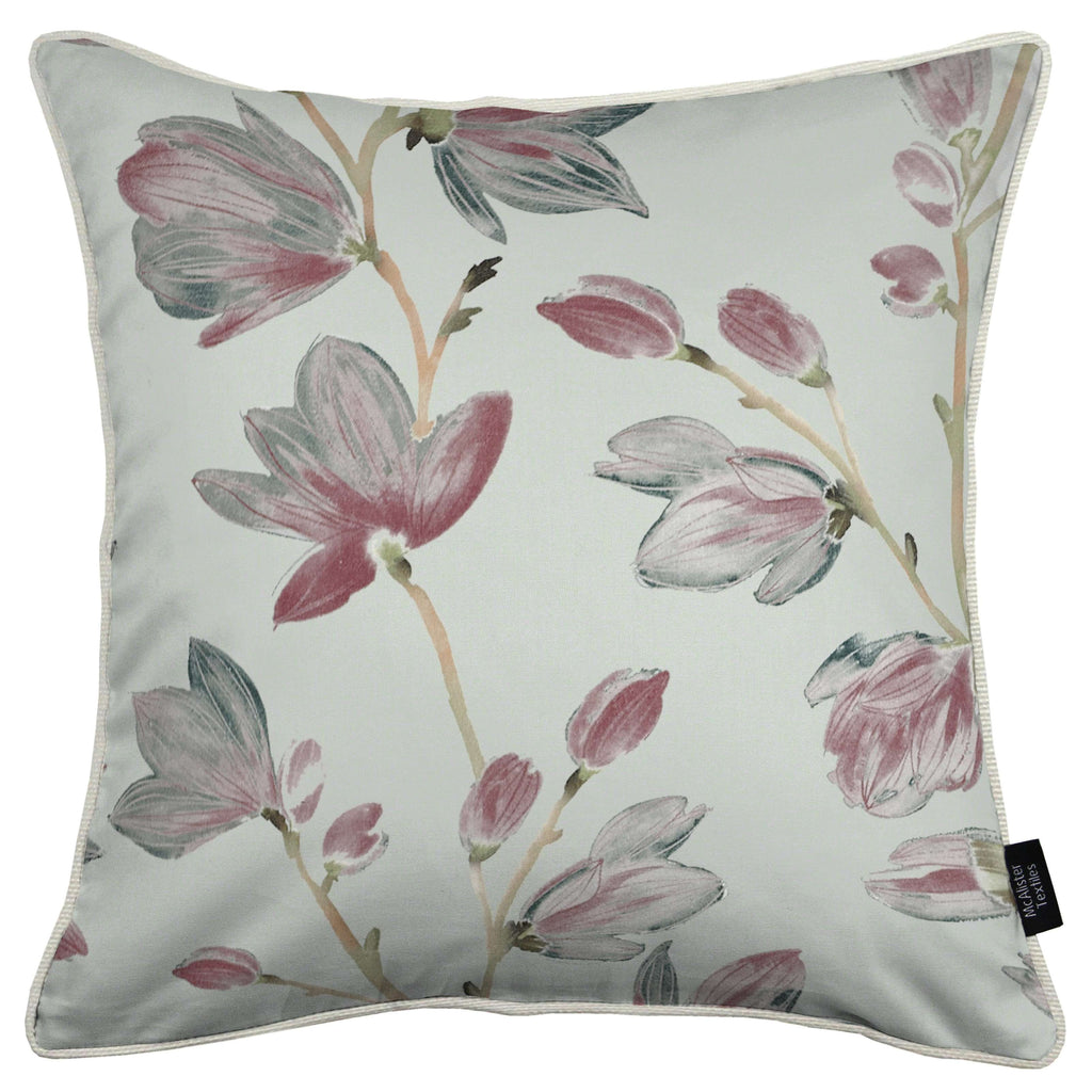 McAlister Textiles Magnolia Rose Floral Cotton Print Cushions Cushions and Covers Cover Only 43cm x 43cm