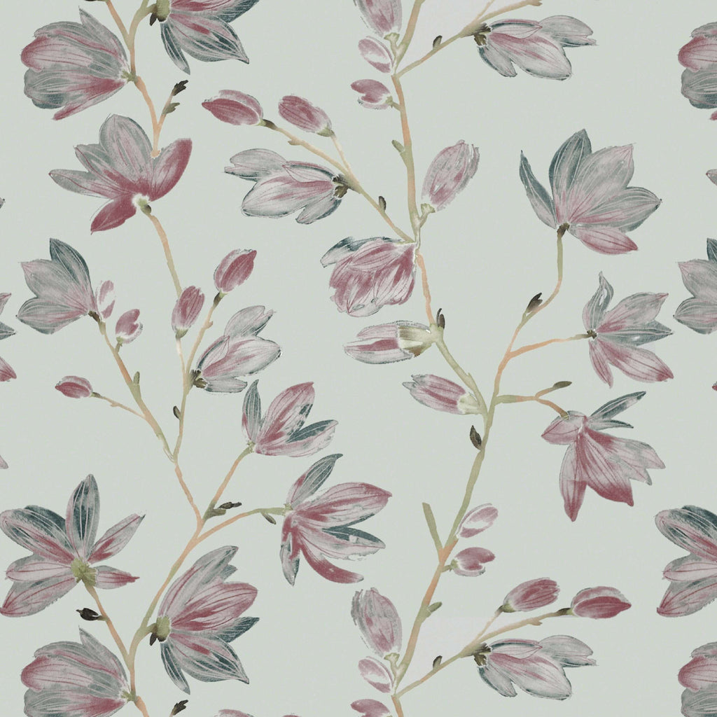 McAlister Textiles Magnolia Rose Pink and Duck Egg Floral FR Fabric Fabrics 1/2 Metre