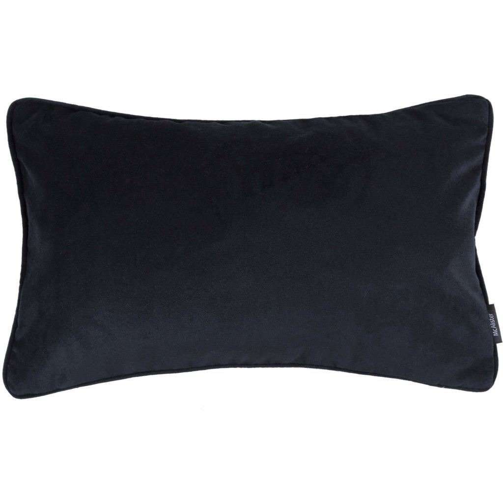 McAlister Textiles Matt Black Velvet Cushion Cushions and Covers Cover Only 50cm x 30cm