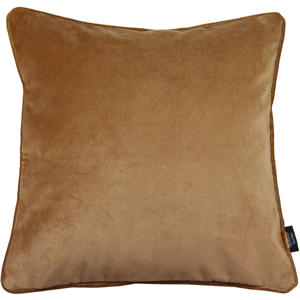 McAlister Textiles Matt Caramel Gold Velvet Cushion Cushions and Covers Cover Only 43cm x 43cm