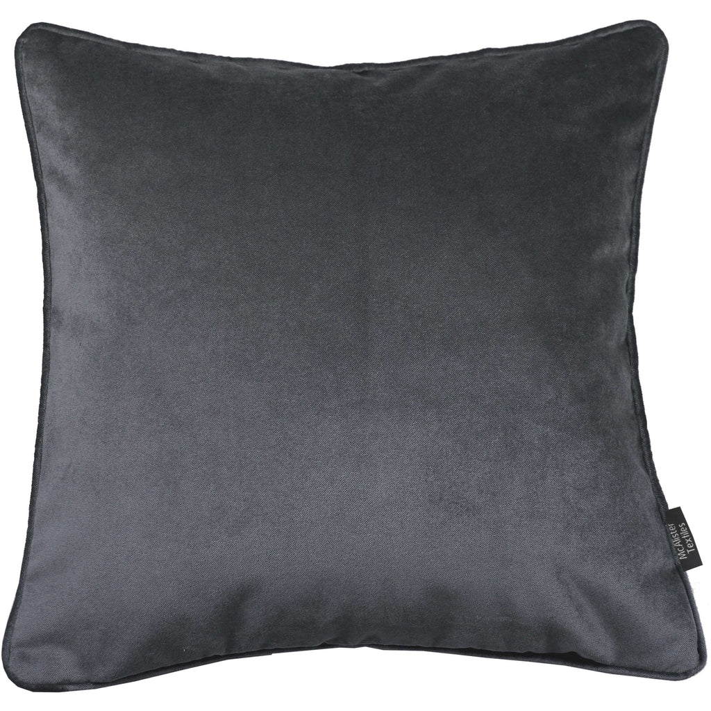 McAlister Textiles Matt Charcoal Grey Velvet Cushion Cushions and Covers Cover Only 43cm x 43cm