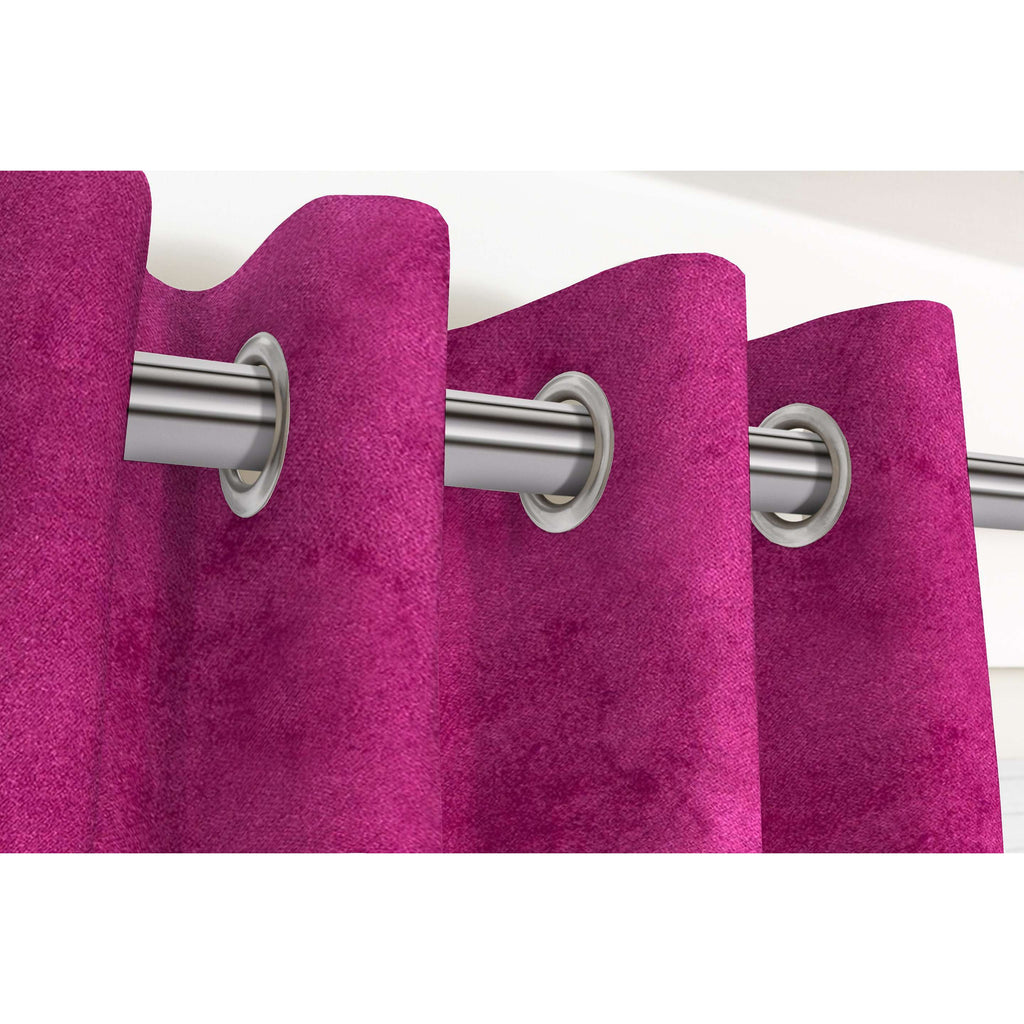 "McAlister Textiles Matt Fuchsia Pink Velvet Curtains Tailored Curtains 116cm(w) x 182cm(d) (46"" x 72"")"