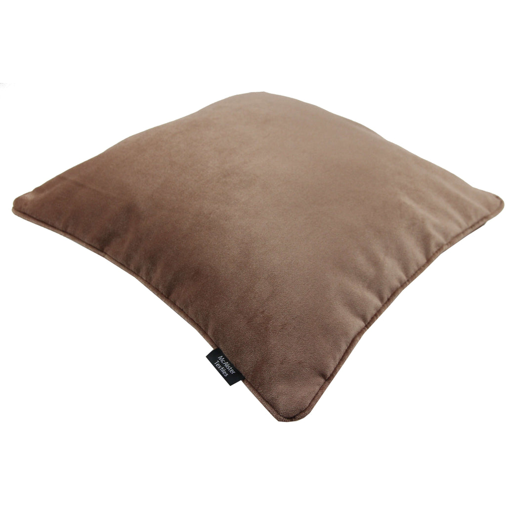 McAlister Textiles Matt Mocha Brown Velvet Cushion Cushions and Covers