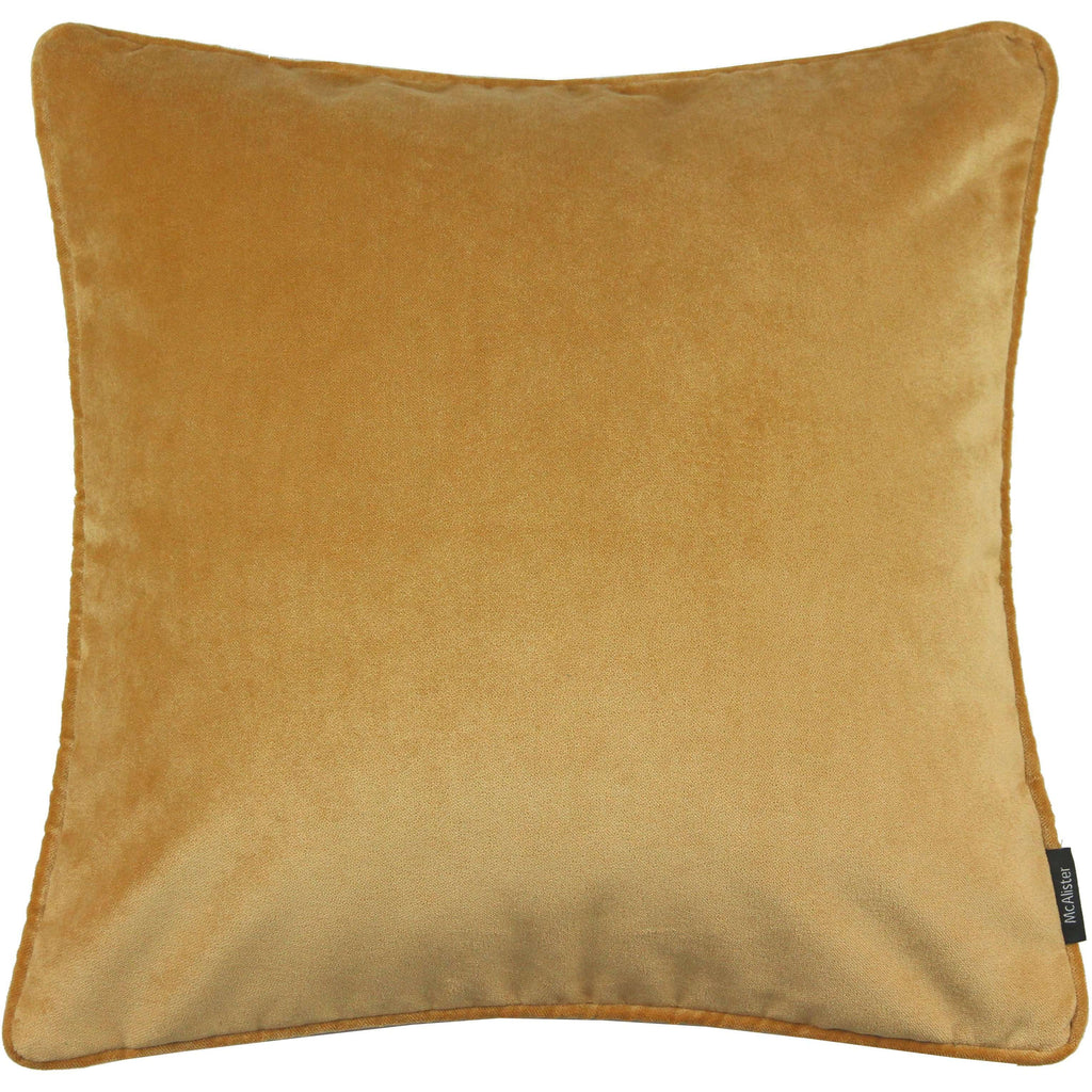 McAlister Textiles Matt Ochre Yellow Velvet Cushion Cushions and Covers Cover Only 43cm x 43cm