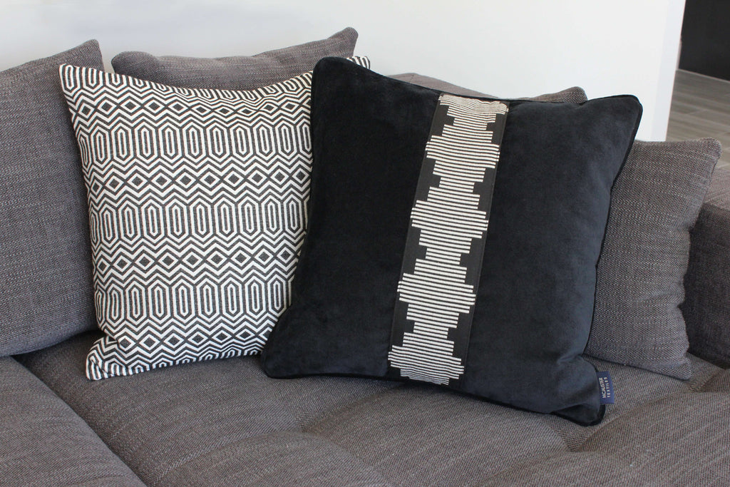 McAlister Textiles Colorado Geometric Black Cushion Cushions and Covers