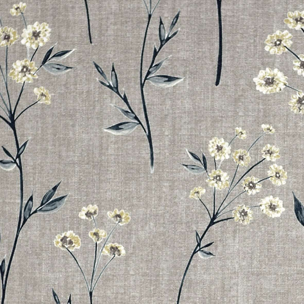 McAlister Textiles Meadow Soft Grey Floral Cotton Print Roman Blinds Roman Blinds