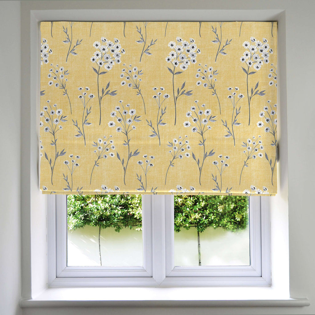 McAlister Textiles Meadow Yellow Floral Cotton Print Roman Blinds Roman Blinds Standard Lining 130cm x 200cm