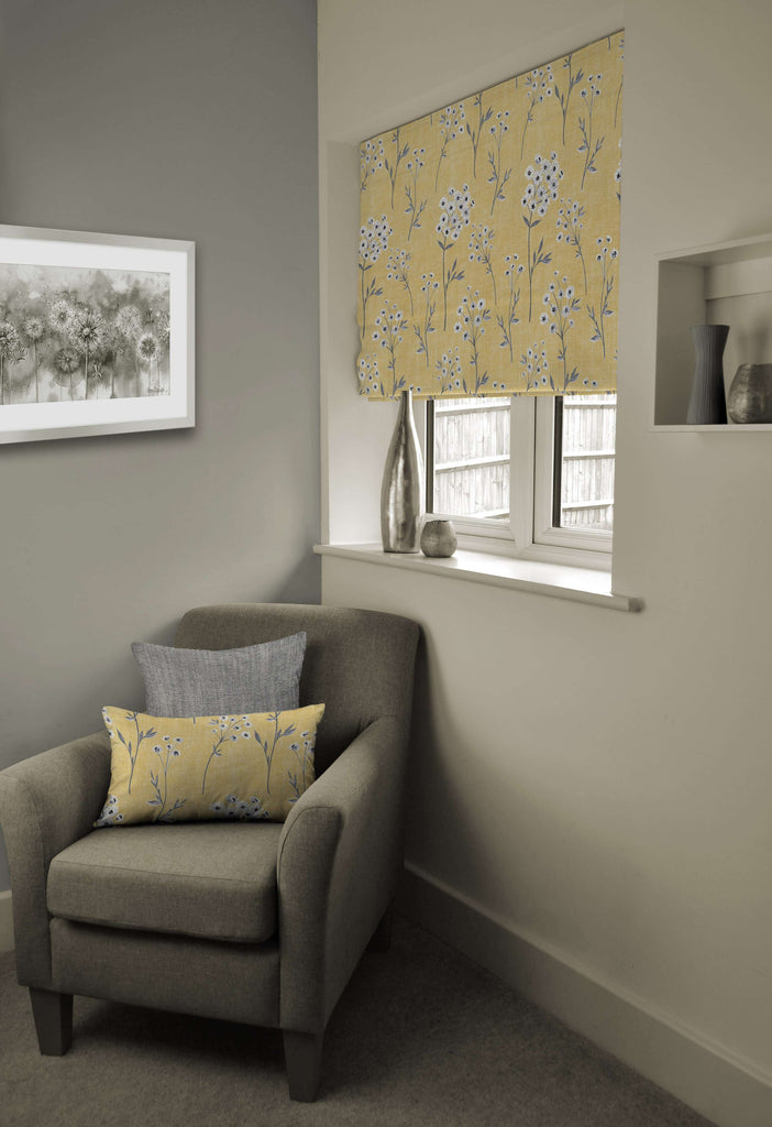 McAlister Textiles Meadow Yellow Floral Cotton Print Roman Blinds Roman Blinds