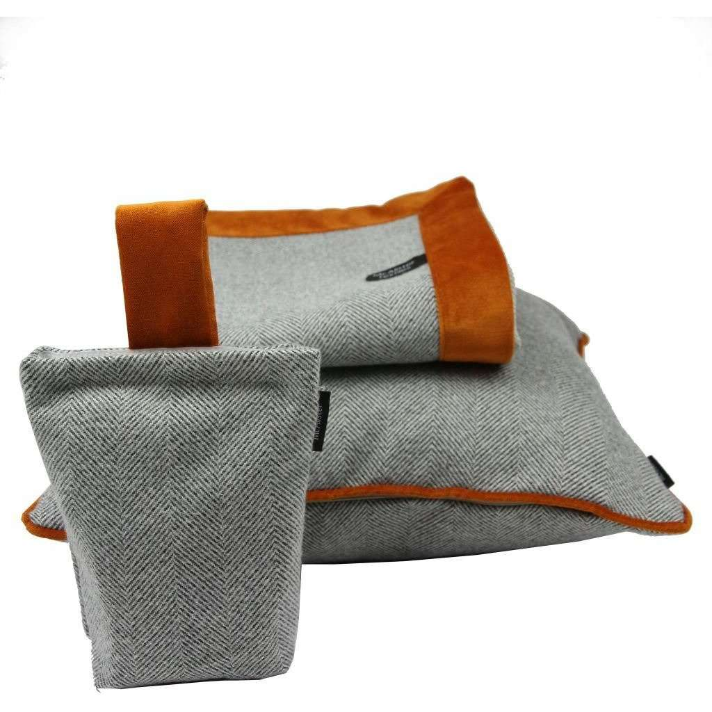 McAlister Textiles Herringbone Boutique Grey + Orange Throw Blanket Throws and Runners