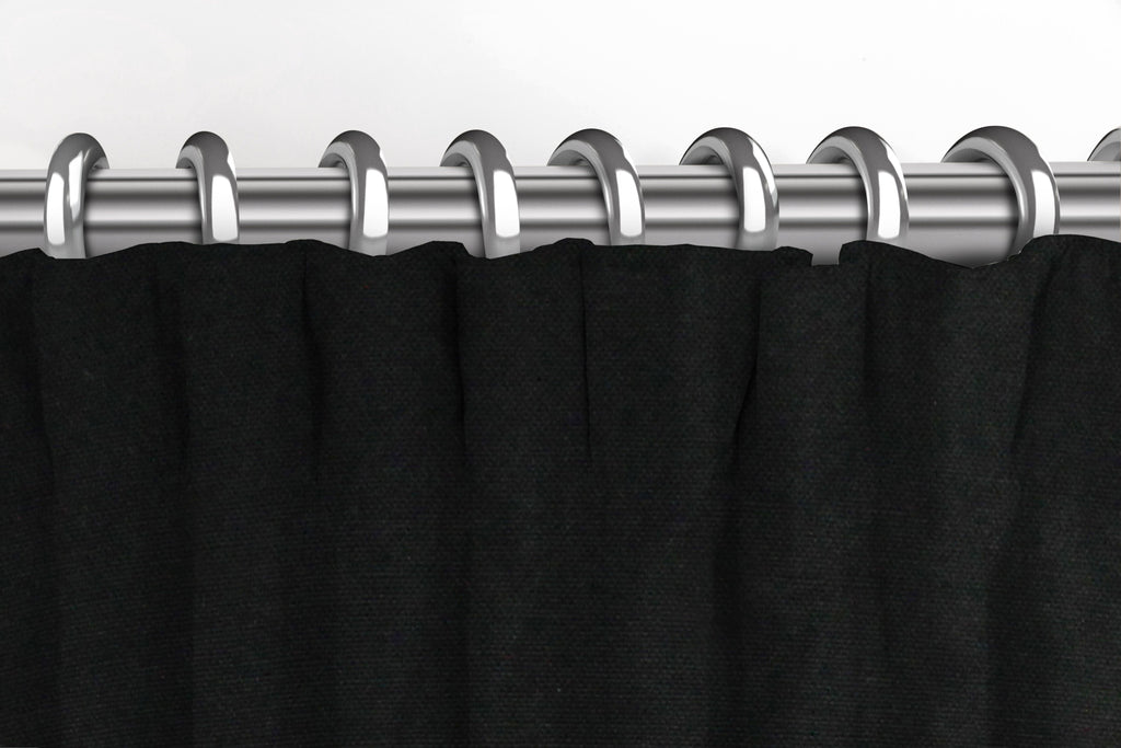 McAlister Textiles Panama Plain Black Curtains Tailored Curtains