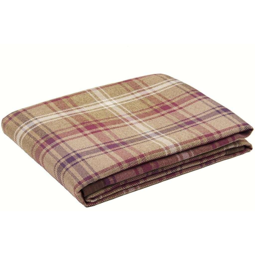 McAlister Textiles Angus Purple + Green Tartan Throw Throws and Runners Bed Runner (50cm x 240cm)