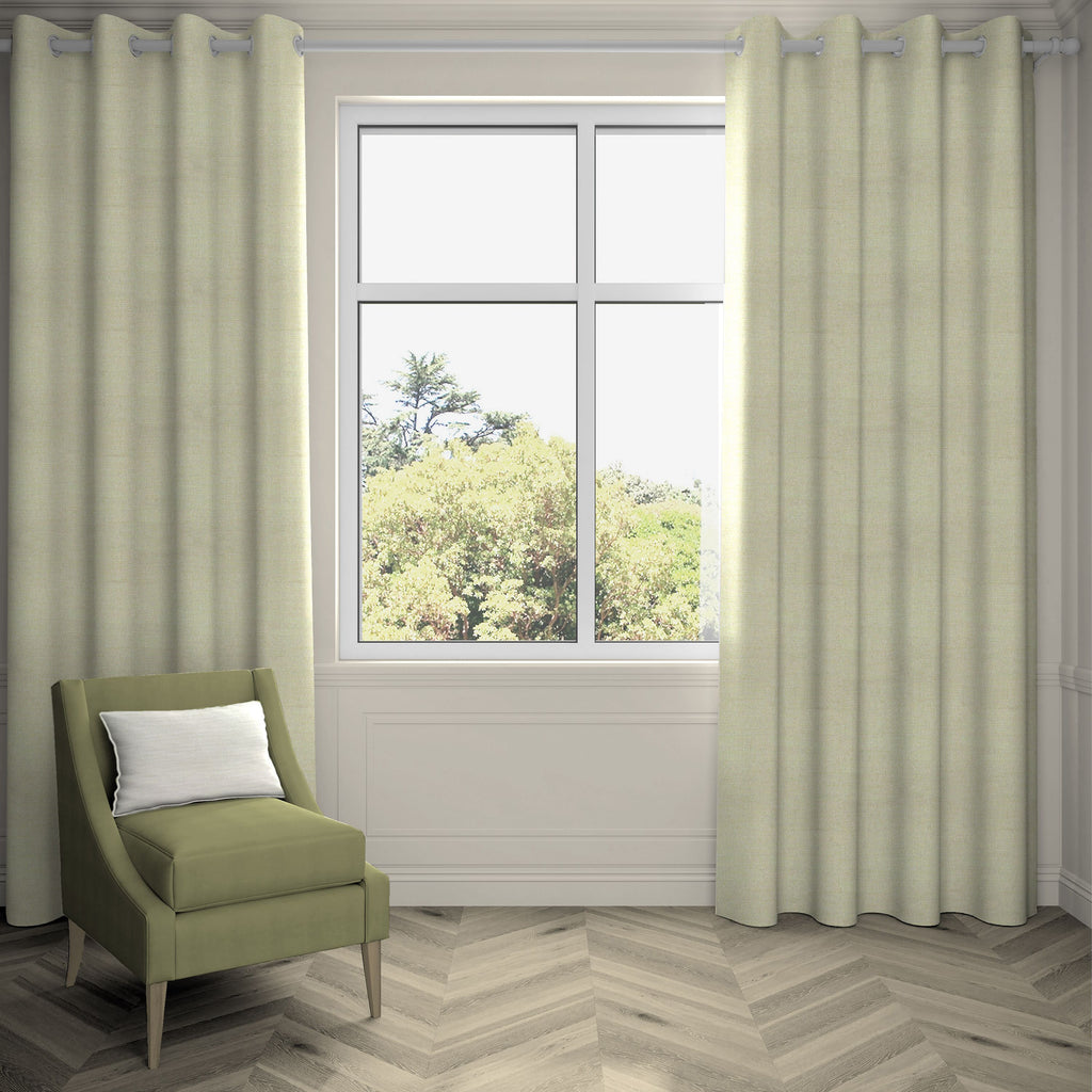 "McAlister Textiles Hamleton Soft Green Textured Plain Curtains Tailored Curtains 116cm(w) x 137cm(d) (46"" x 54"")"