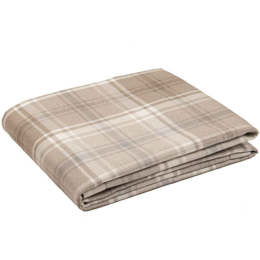 McAlister Textiles Angus Woven Wool Feel Natural Beige Tartan Throw & Runners-Throws and Runners-