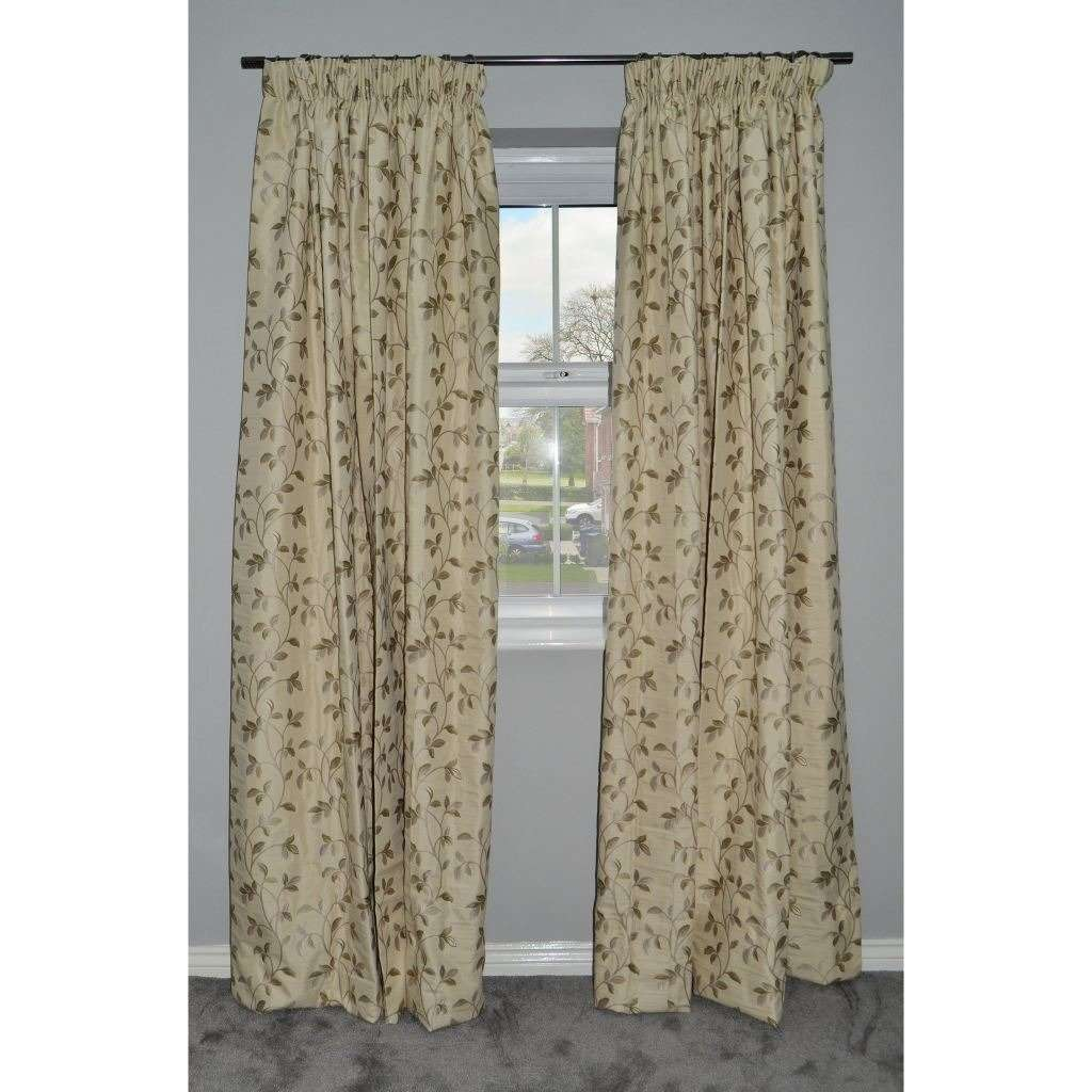 "McAlister Textiles Annabel Floral Sage Green Curtains Tailored Curtains 116cm(w) x 137cm(d) (46"" x 54"")"