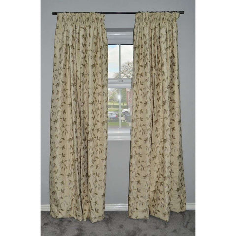 McAlister Textiles Annabel Vintage Floral Natural Green Curtains-Tailored Curtains-