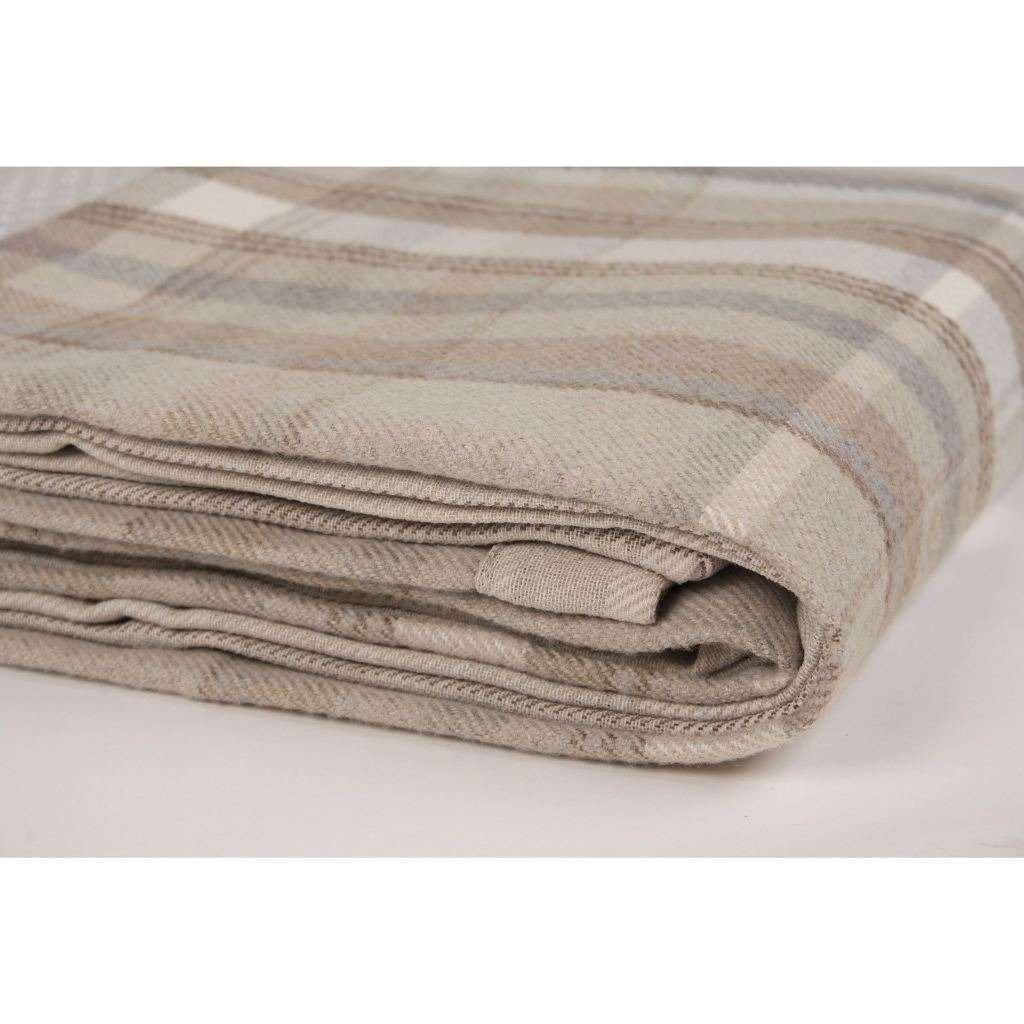 McAlister Textiles Heritage Beige Cream Tartan Throw Throws and Runners