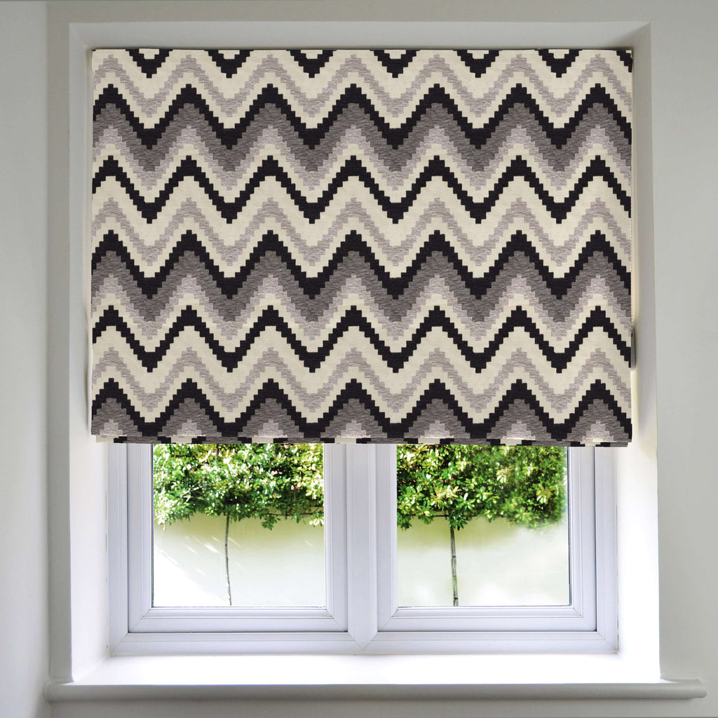 McAlister Textiles Navajo Black + Grey Striped Roman Blind Roman Blinds Standard Lining 130cm x 200cm