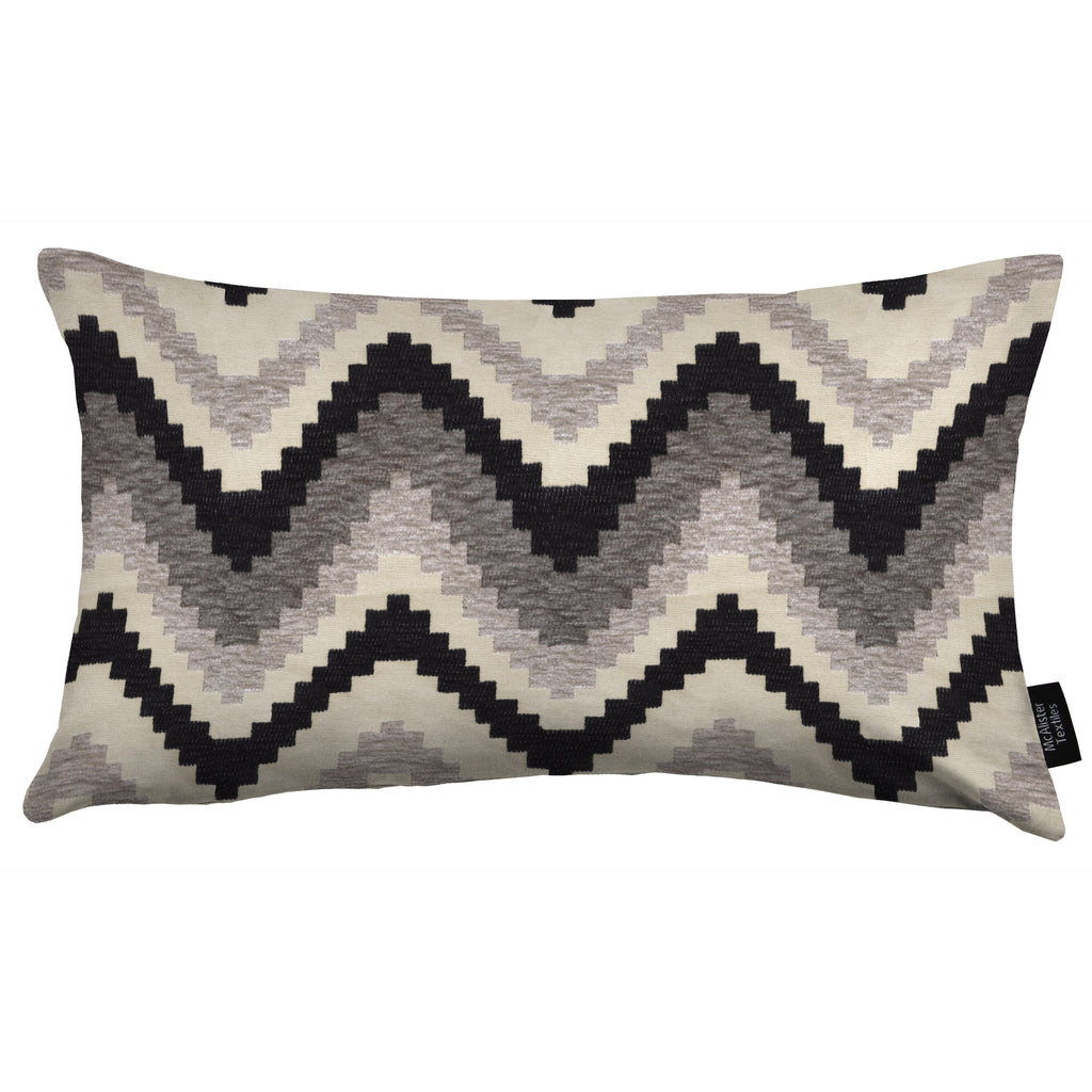 McAlister Textiles Navajo Black + Grey Striped Pillow Pillow Cover Only 50cm x 30cm