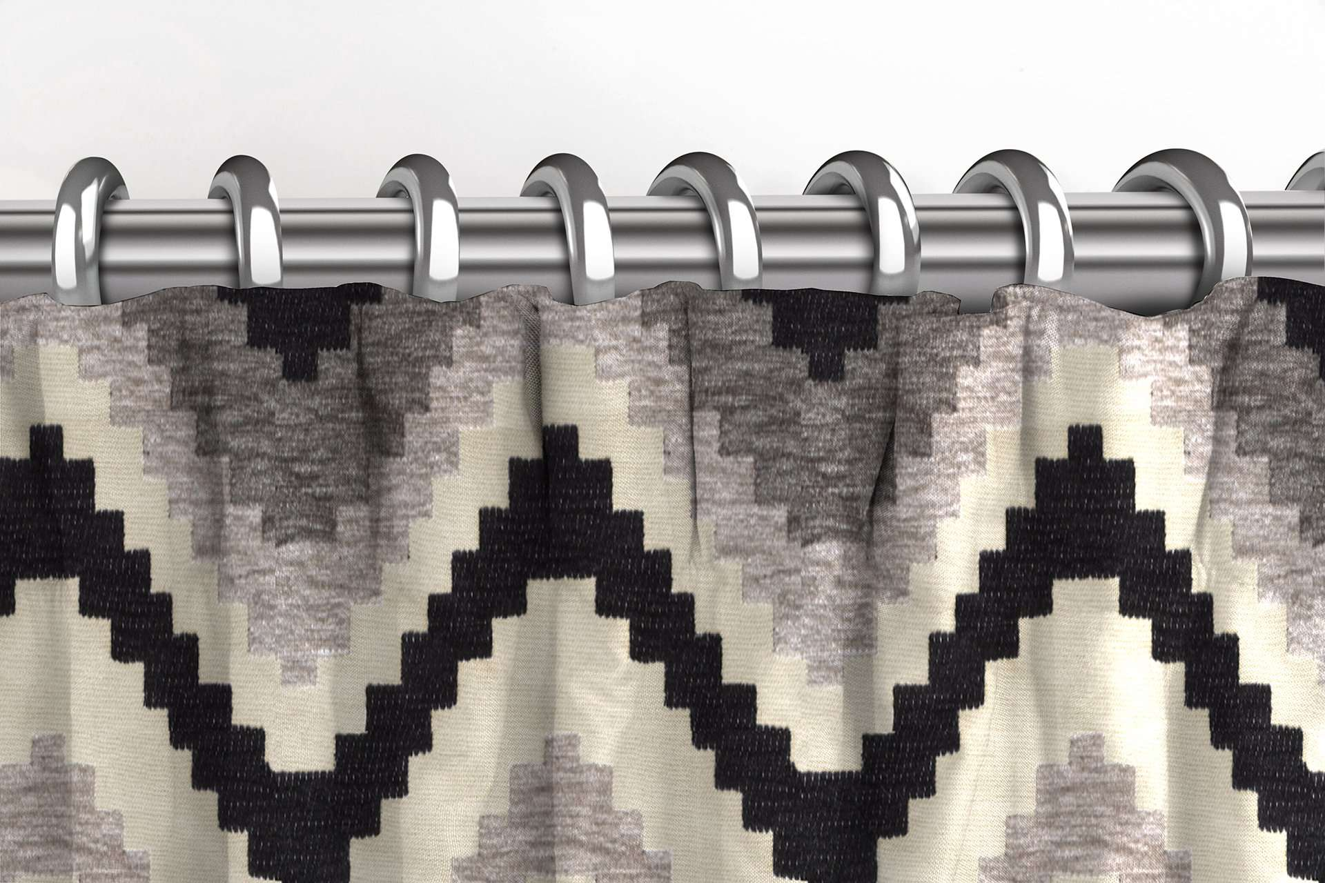 McAlister Textiles Navajo Black + Grey Striped Curtains Tailored Curtains