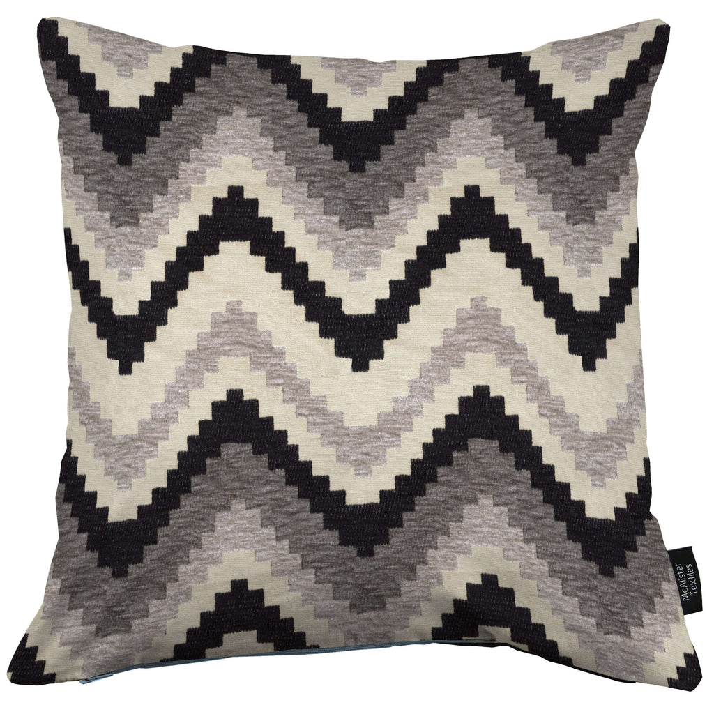 McAlister Textiles Navajo Black + Grey Striped Cushion Cushions and Covers Cover Only 43cm x 43cm