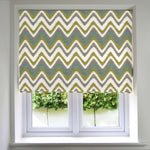 Load image into Gallery viewer, McAlister Textiles Navajo Blue + Lime Green Striped Roman Blind Roman Blinds Standard Lining 130cm x 200cm
