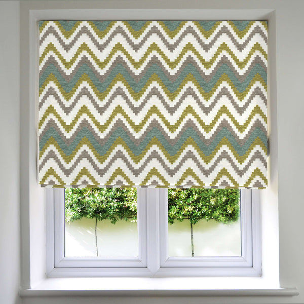 McAlister Textiles Navajo Blue + Lime Green Striped Roman Blind Roman Blinds