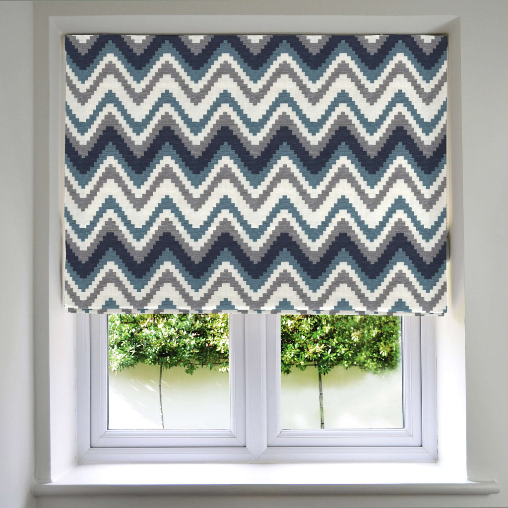 McAlister Textiles Navajo Navy Blue Striped Roman Blind Roman Blinds Standard Lining 130cm x 200cm