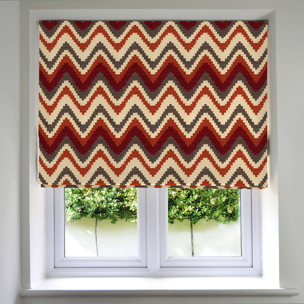 McAlister Textiles Navajo Red + Burnt Orange Striped Roman Blind Roman Blinds Standard Lining 130cm x 200cm