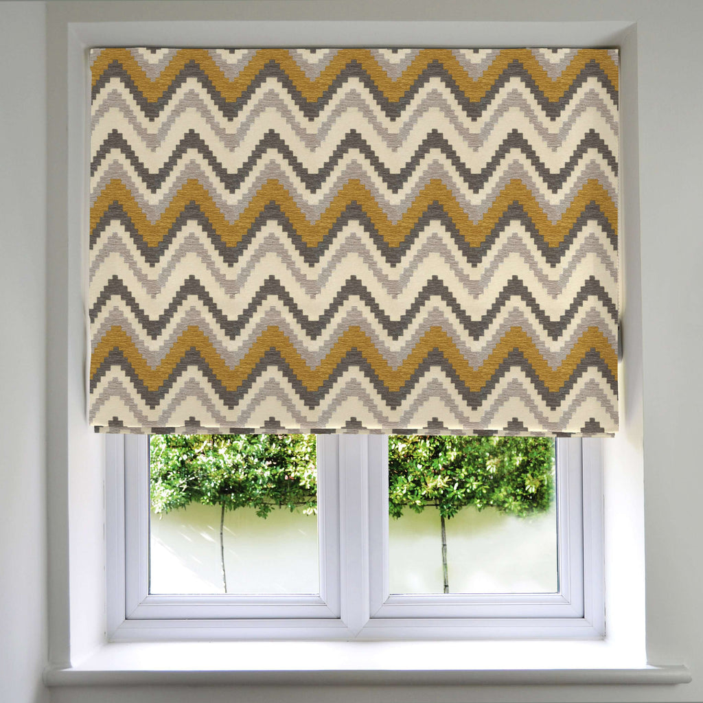 McAlister Textiles Navajo Yellow + Grey Striped Roman Blind Roman Blinds Standard Lining 130cm x 200cm