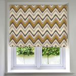 Load image into Gallery viewer, McAlister Textiles Navajo Yellow + Grey Striped Roman Blind Roman Blinds Standard Lining 130cm x 200cm