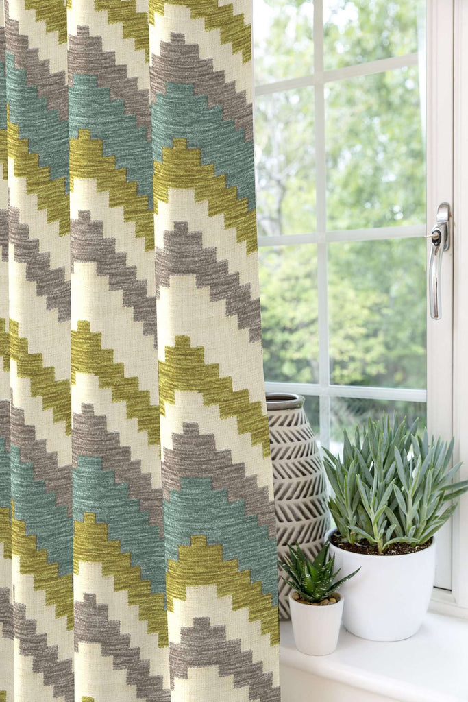 Mcalister Textiles Zigzag Striped Blue Lime Green Curtains