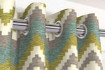 Charger l'image dans la galerie, McAlister Textiles Navajo Blue + Lime Green Striped Curtains Tailored Curtains