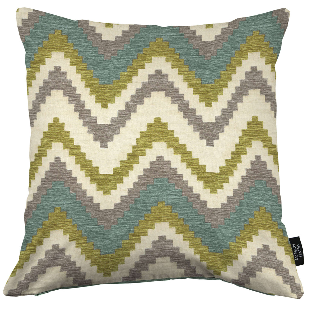 McAlister Textiles Navajo Blue + Lime Green Striped Cushion Cushions and Covers Cover Only 43cm x 43cm