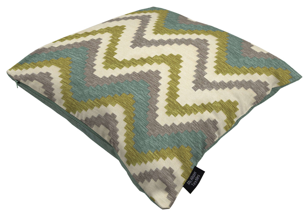 McAlister Textiles Navajo Blue + Lime Green Striped Cushion Cushions and Covers