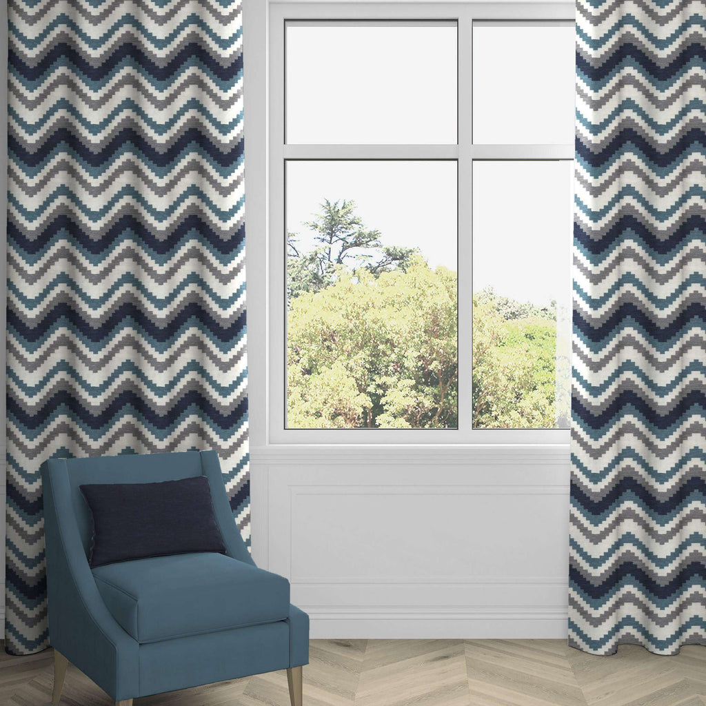 McAlister Textiles Navajo Navy Blue Striped Curtains Tailored Curtains