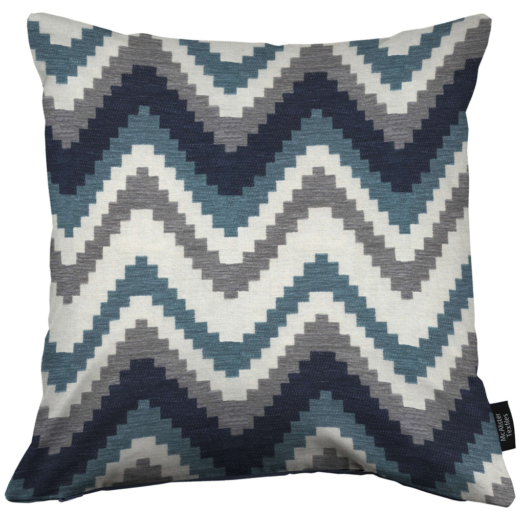 McAlister Textiles Navajo Navy Blue Striped Cushion Cushions and Covers Cover Only 43cm x 43cm