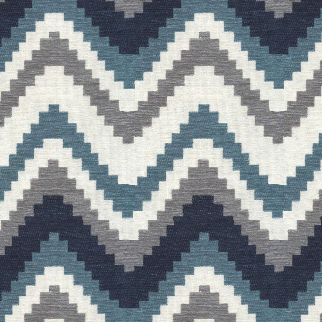 McAlister Textiles Navajo Navy Blue Striped Fabric Fabrics